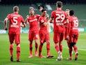 Bayer Leverkusen celebrate Kai Havertz's second goal against Werder Bremen on May 18, 2020