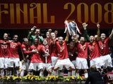 Man Utd celebrate winning the Champions League in 2008