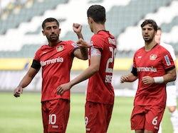 Kai Havertz celebrates scoring for Bayer Leverkusen on May 23, 2020
