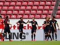 RB Leipzig players celebrate Timo Werner's goal against Mainz on May 24, 2020