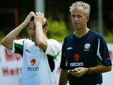 Roy Keane and Mick McCarthy pictured in Republic of Ireland training for the 2002 World Cup