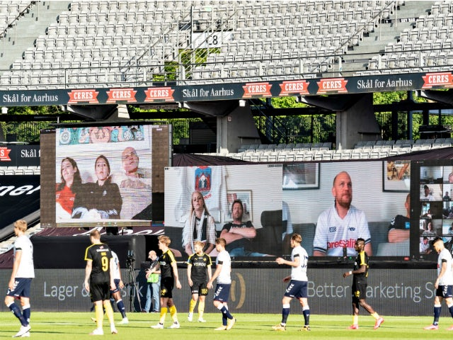 Aarhus in action against Randers in the Danish Superliga's first game back on May 28, 2020