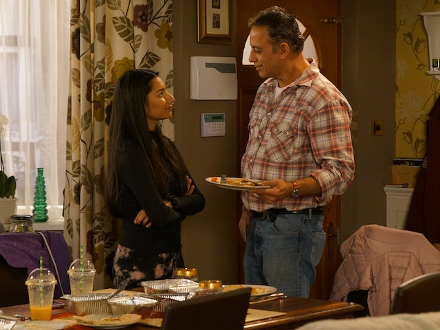 Dev treats Asha to a takeaway on Coronation Street on June 10, 2020