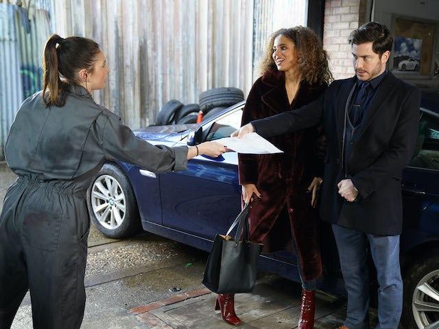 Chantelle borrows Gray's car on EastEnders on June 9, 2020
