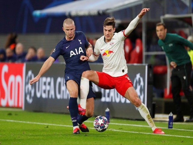 Tottenham's Eric Dier and Leipzig's Patrik Schick battle for possession in the Champions League in March 2020