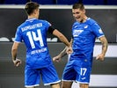 Hoffenheim's Steven Zuber and Christoph Baumgartner celebrate score on May 27, 2020