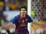 Barcelona forward Lionel Messi scoring his 73rd goal of the 2011-12 campaign against Athletic Bilbao
