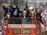 Manchester United celebrate their 1998-99 treble-winning campaign