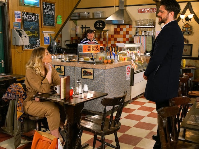 Adam bumps into Laura in the cafe on Coronation Street on June 12, 2020
