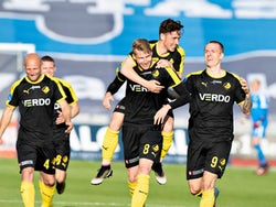Randers' Simon Piesinger celebrates with his teammates on May 28, 2020