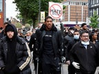 Anthony Joshua takes part in Black Lives Matter march on crutches