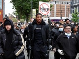 Anthony Joshua pictured during a George Floyd protest on June 6, 2020