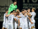 Famalicao players celebrate after scoring against Porto on June 3, 2020