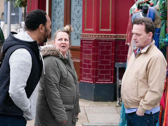 Karen, Mitch and Billy on EastEnders on June 16, 2020