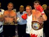 Joe Calzaghe celebrates beating Rick Thornberry in 1999