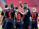 RB Leipzig players celebrate scoring against Koln on June 1, 2020