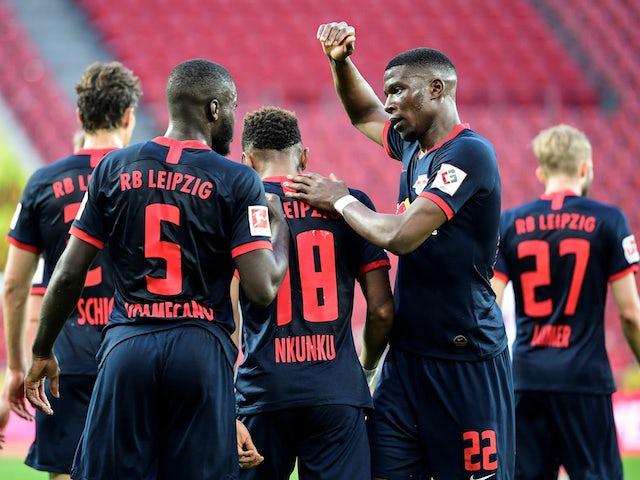 RB Leipzig players celebrate scoring against Koln on June 1, 2020