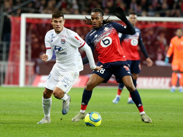 Lyon's Bruno Guimaraes in action with Lille's Renato Sanches in Ligue 1 on March 8, 2020