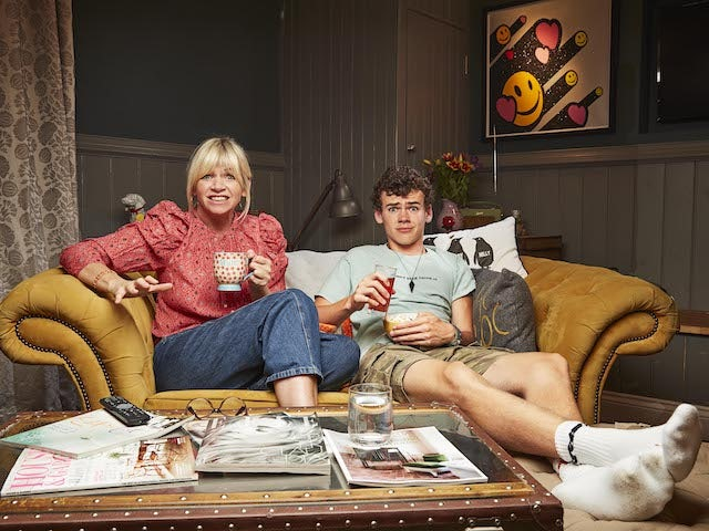Zoe Ball and Woody Cook on Celebrity Gogglebox