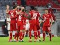 Bayern Munich players celebrate scoring against Eintracht Frankfurt in the DFB-Pokal semi-finals on June10, 2020