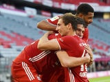 Bayern Munich players celebrate their late winner against Borussia Monchengladbach on June 13, 2020
