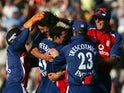 England players celebrate beating Australia in a T20 in 2005