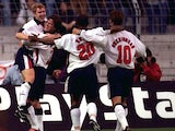 England players celebrate during the 1997 Le Tournoi