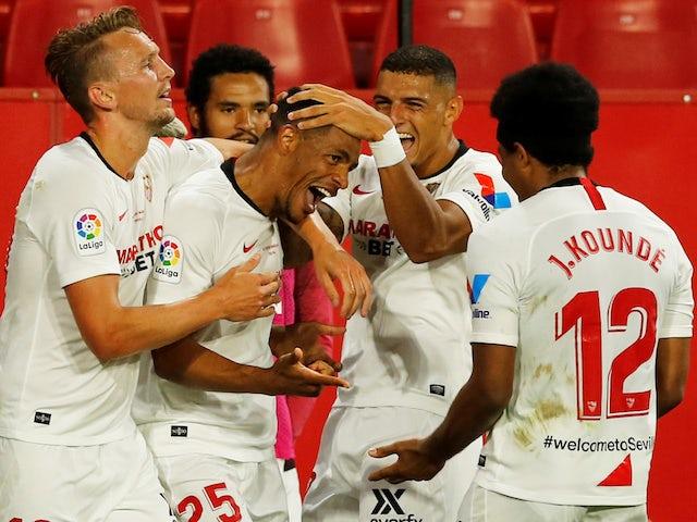 Sevilla's Fernando celebrates scoring their second goal against Real Betis on June 11, 2020
