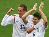 England players celebrate scoring against Trinidad at the 2006 World Cup