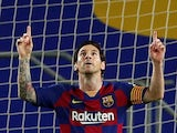 Barcelona's Lionel Messi celebrates scoring on June 16, 2020