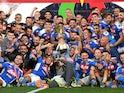 Napoli players celebrate winning the Coppa Italia on June 17, 2020