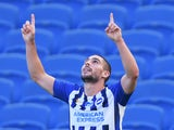 Neal Maupay celebrates scoring for Brighton against Arsenal on June 20, 2020