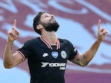 Olivier Giroud celebrates scoring for Chelsea on June 21, 2020