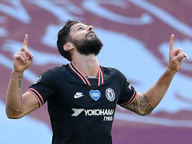 Olivier Giroud celebrates scoring for Chelsea on June 21, 2020