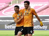Wolves heroes Pedro Neto and Raul Jimenez celebrate on June 20, 2020