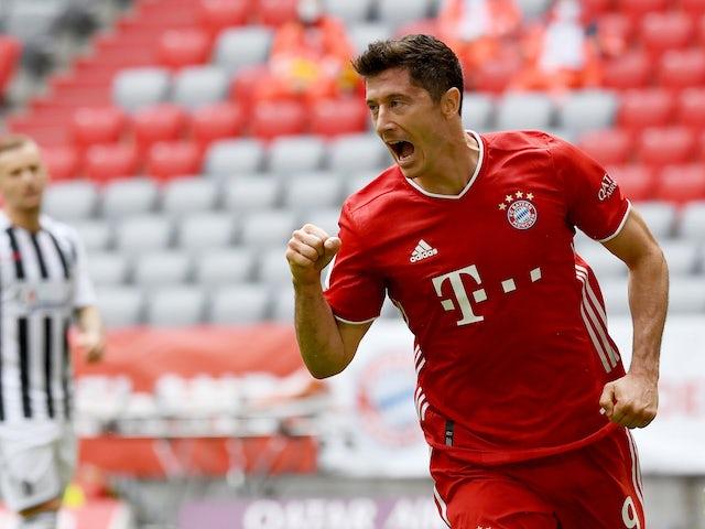 Robert Lewandowski celebrates scoring for Bayern Munich on June 20, 2020