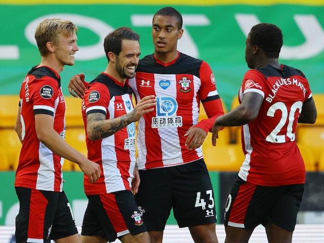 Southampton players celebrate a goal from Danny Ings on June 19, 2020