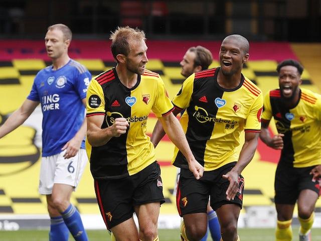 Watford's Craig Dawson celebrates scoring against Leicester on June 20, 2020