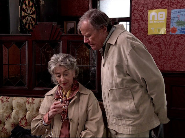 Roy meets Evelyn for a drink on Coronation Street on July 8, 2020
