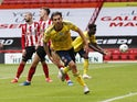 Arsenal midfielder Dani Ceballos celebrates scoring against Sheffield United on June 28, 2020