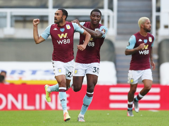 Aston Villa's Ahmed Elmohamady celebrates scoring against Newcastle on June 24, 2020