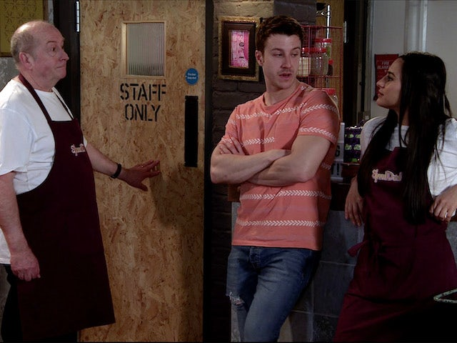 Geoff returns to work at Speed Daal on Coronation Street on July 10, 2020