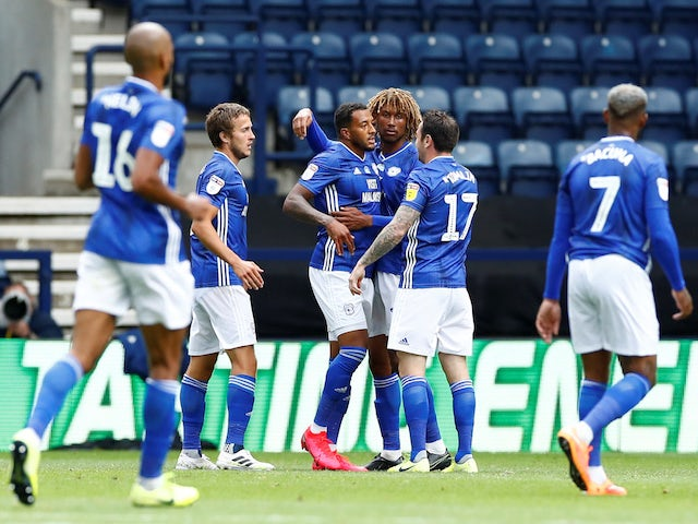 Cardiff's Nathaniel Mendez-Laing celebrates scoring against Preston on June 27, 2020