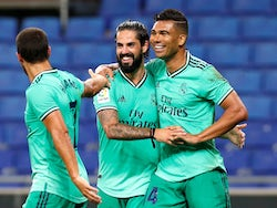 Casemiro celebrates scoring with Real Madrid teammates on June 28, 2020