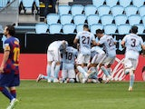 Celta Vigo players celebrate Iago Aspas's late goal against Barcelona on June 27, 2020