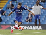Christian Pulisic pictured scoring for Chelsea on June 25, 2020