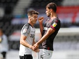 Derby's Tom Lawrence and Reading's Matt Miazga clash on June 27, 2020