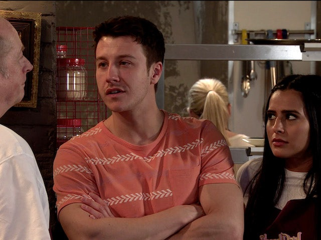 Ryan and Alya talk to Geoff on Coronation Street on July 10, 2020