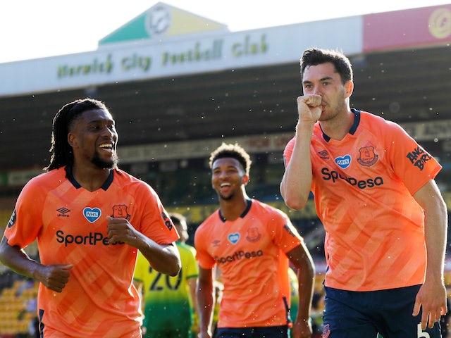 Everton's Michael Keane celebrates scoring against Norwich City on June 24, 2020