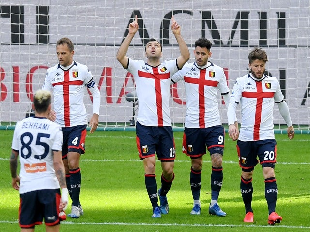 Genoa celebrate a goal against AC Milan in Serie A in March 2020